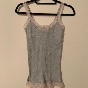 Hollister Grey tank top with lace straps